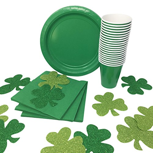 St. Patricks Day Party Supplies Bundle: Paper Plates, Napkins, Cups and Glitter Foam Shamrock Decorations