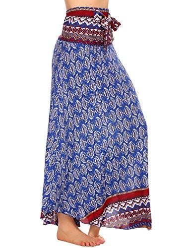SE MIU Women's Long Bohemian Style Floral Print Boho Hippie Maxi Skirt (Print Hippie Tie)