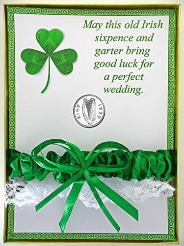 Lucky Irish Wedding Bridal Garter and Sixpence Coin