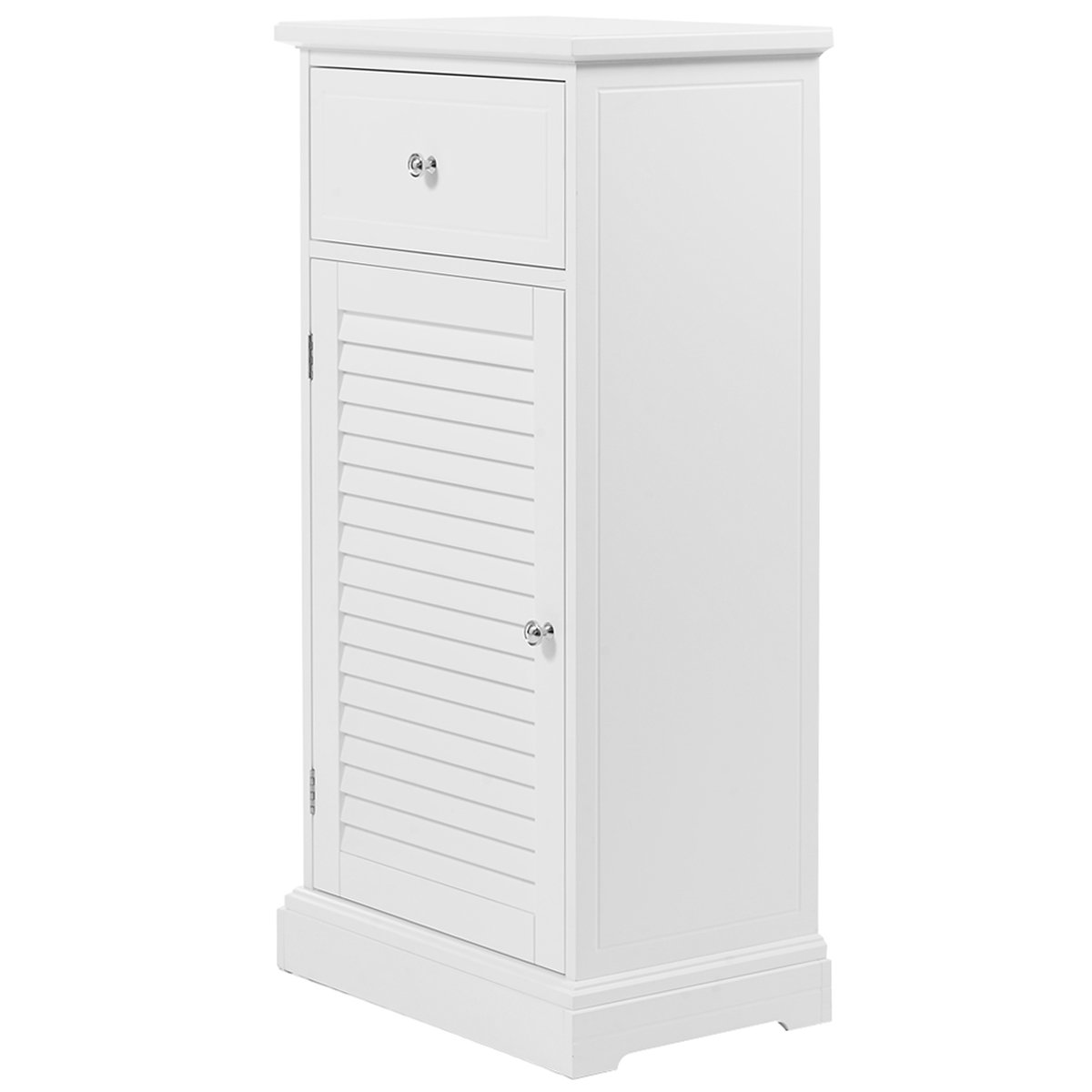 Giantex White Storage Floor Cabinet Wall Shutter Door Bathroom Organizer Cupboard Shelf