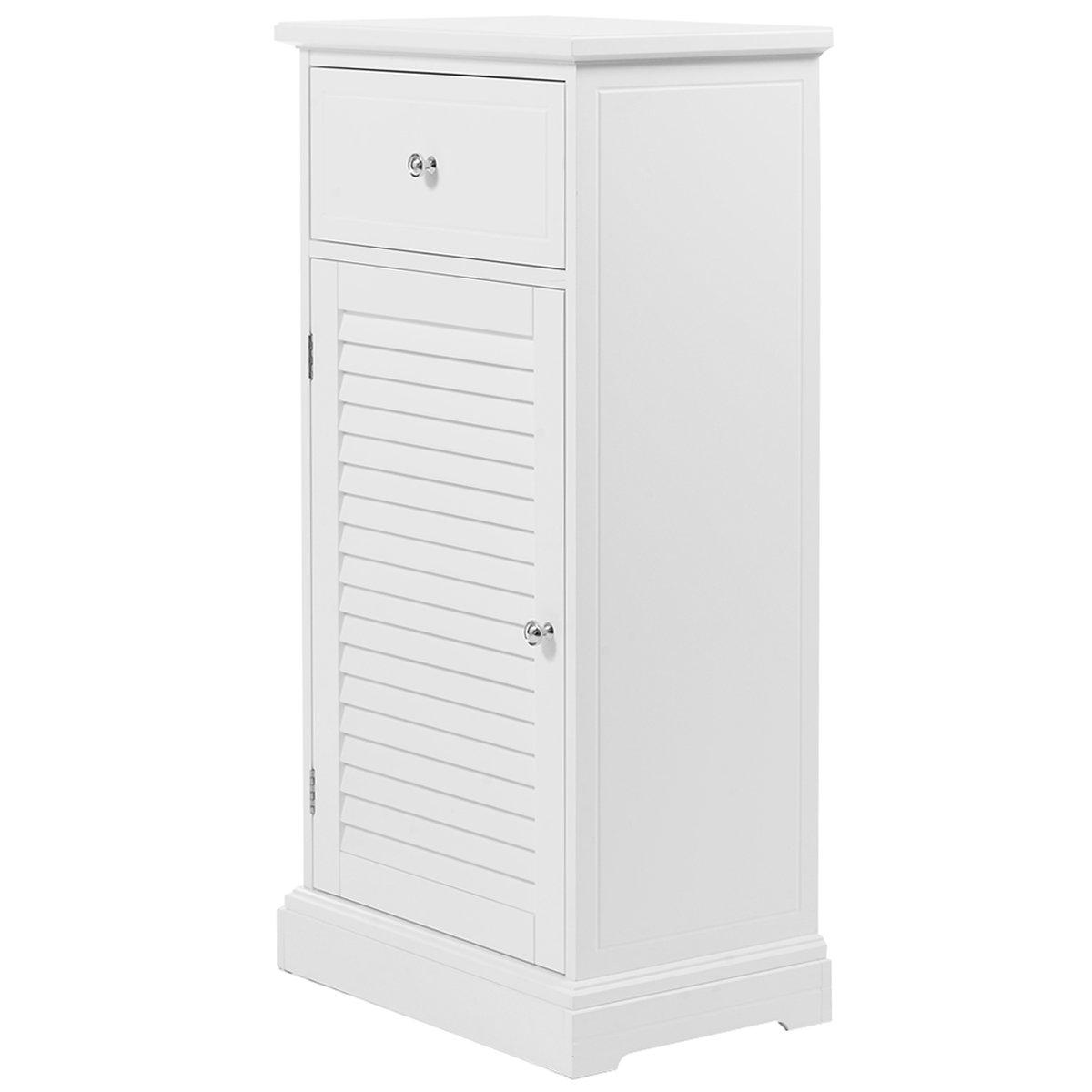 Giantex White Storage Floor Cabinet Wall Shutter Door Bathroom Organizer Cupboard Shelf