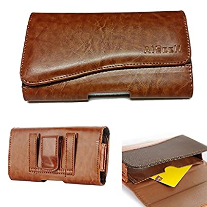 ea25dfdd7f8c AIScell Universal Wallet Pouch for Smartphone [ Tan Leather Wallet Case  Belt Loop Holster ] Compatible with Motorola Moto G5S Plus/Moto E4  Plus/Moto ...