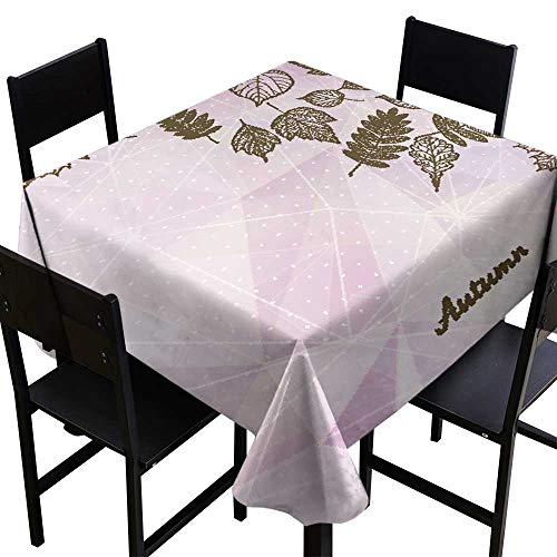 Warm Family Waterproof Tablecloth Abstract Autumn Illustration with Maple Leaves Great for Buffet Table W54 x L54