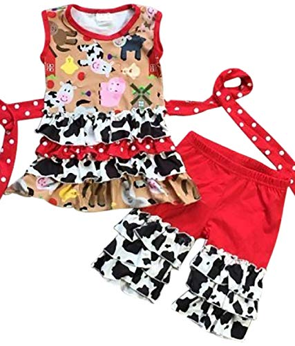 Little Girls 2 Pieces Tank Top Short Set Farm Pig Cow Animals Print Kids Outfit Red 3T S (P318752P) -