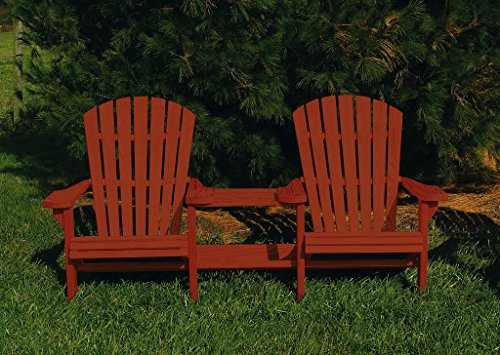 Pressure Treated Pine Fan Back Adirondack Settee with Table Amish Made USA- Mahogany Stain Fan Back Settee