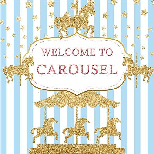 AOFOTO 8x8ft Glitter Golden Horses Carousel Backdrop Birthday