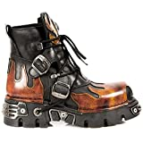 New Rock Shoes - Unisex Leather Ankle Boots with Red Flames UK 8.5 / Black