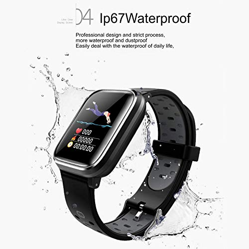 Bluetooth Smart Watch:All-Day Heart Rate and Activity Tracking, Sleep Monitoring, GPS, Ultra-Long Battery Life, Bluetooth, (Black-Blue) by FOKECCI (Image #4)
