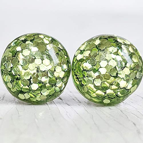 (Olive Green Glitter Bubble Stud Earrings - Hypoallergenic Silver Plated Posts)