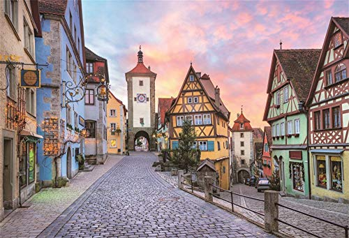 Leowefowa 10x8ft Oktoberfest Backdrop German Famous City Bavaria Town Street Landscape Colorful Half-timbered Houses Dramatic Sky Background for Photography Octoberfest Party Decoration Photo Props