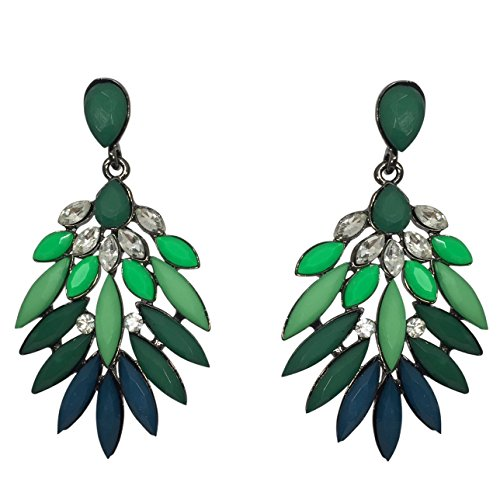 (Spike Rhinestone and Resin Flair Post Multi Color Long Dangle Style Boutique Earrings (Green to Blue))