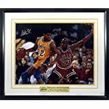 "Magic Johnson Autographed ""vs. Michael Jordan"" 16x20 Photograph w/ Floating Plate Framed (COA)"