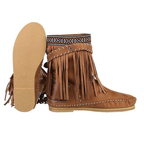 Ital-Design - Botas De Vaquero Mujer Beige Camel