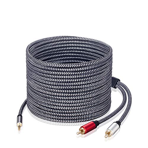 3.5mm to RCA Audio Cable, Morelecs Nylon-Braided 3.5mm to 2RCA Audio Auxiliary Stereo Y Splitter Cable, Double-Shielded, Heavy Duty 3.5mm Male to 2 RCA Male Stereo Audio Adapter Cable - 20 Feet