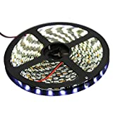 XKTTSUEERCRR Black PCB 16.4ft/5M SMD 5050 300LED/Roll Cool White Waterproof(IP65) Flexible Strip Light,DC 12V For Car/Truck/Mall/Booth/Stage/House Decoration + DC Connector + 12V 5A Power Supply