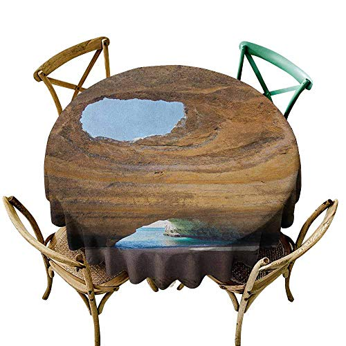 Indoor/Outdoor Round Tablecloth Cave Sea Cave of Benagil in Algarve Portugal Idyllic Sandy Rocky Landscape Sand Brown Pale Blue Umber Table Cover for Home Restaurant 43 INCH ()