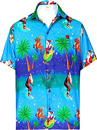 HAPPY BAY Men's Hawaiian Shirt Big and Tall Button Down Shirt X-Large Blue_BB234