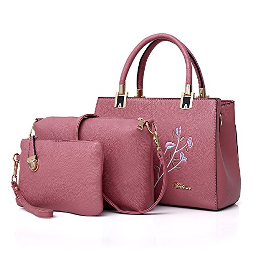 Coolives Women Embroidery Long Shoulder Strap Top Handle Bag Set 3 Pieces Red Pink