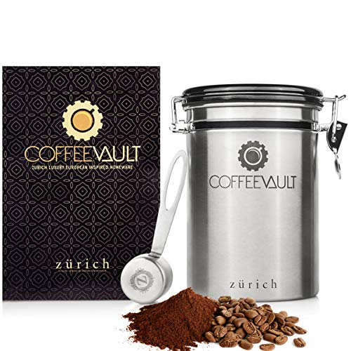 Zurich Coffee Canister Coffee Container Airtight - Large Stainless Steel Coffee Storage Vault - Coffee Canister with Scoop - Coffee Bean Container with CO2 Valve to Keep Beans Fresh - 1lb