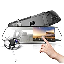 TOGUARD Rearview Mirror Dash Cam 4.3 Inch Touch Screen, 1080P Full HD 170° Wide Angle Front Car Camera Video Recorder and Weatherproof Backup Camera Dual Lens with G-Sensor Loop Recording ParkingMonitor