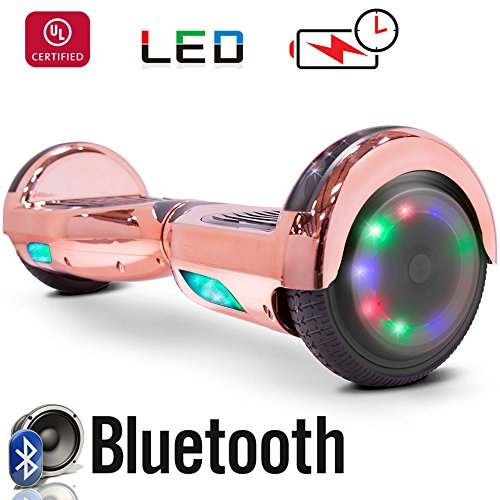 Go Bowen New 6 5  Hoverboard  Self Balancing Scooter 2 Wheel Electric Scooter   Ul Certified 2272 Bluetooth W Speaker  Led Wheels And Led Lights  Chrome Rose