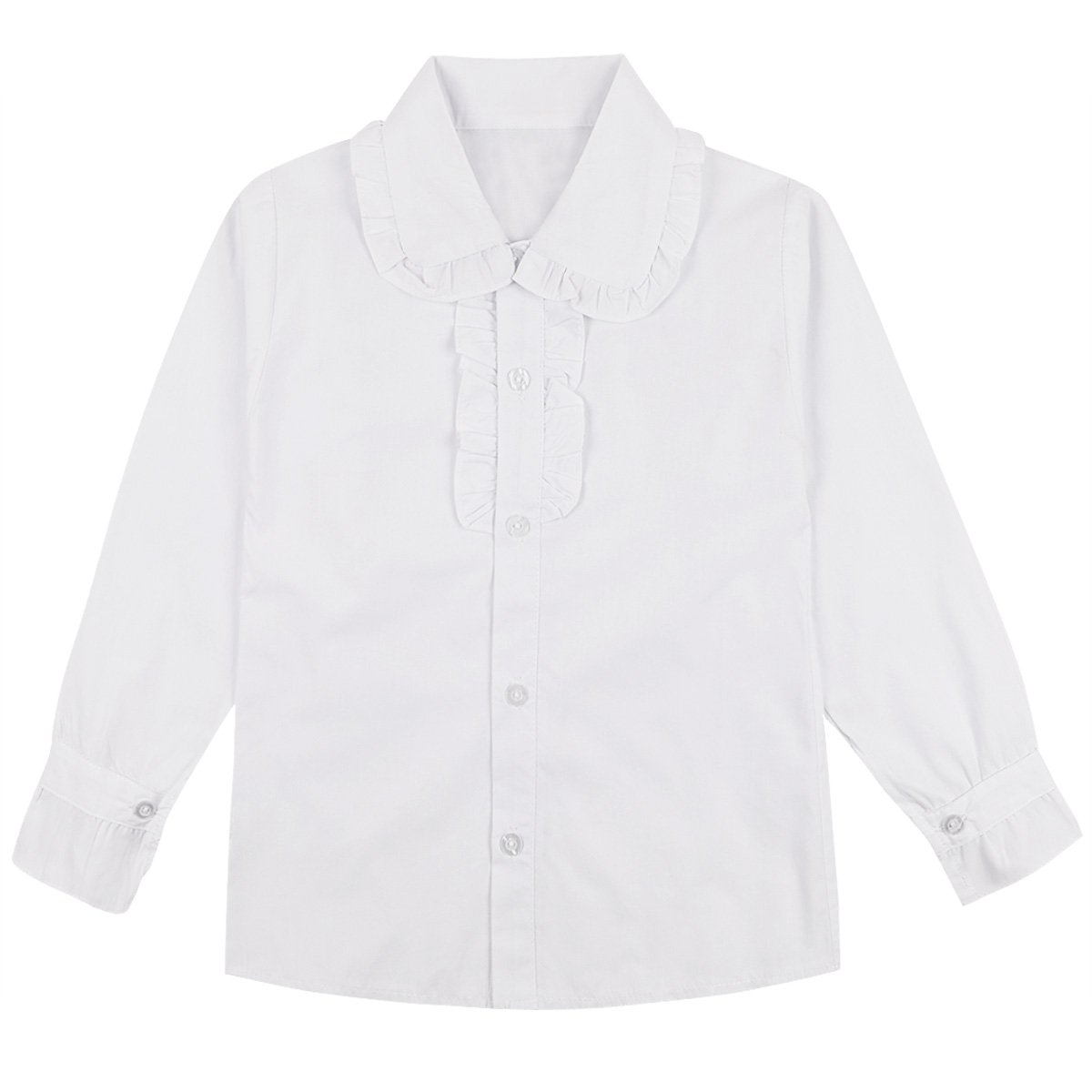 Alvivi Big Girl's School Uniforms Oxford Long Sleeve Spread Collar Blouse Button up Shirt White 7-8