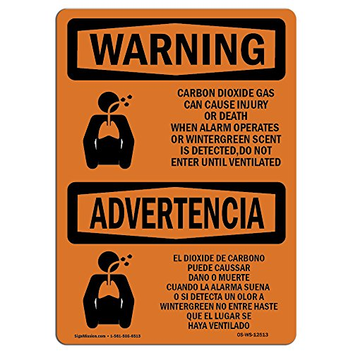 OSHA Waring Sign - Carbon Dioxide Gas Bilingual   Rigid Plastic Sign   Protect Your Business, Construction Site, Warehouse & Shop Area   Made in The USA