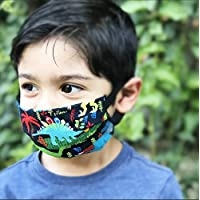 Dinosaur T Rex Face Mask for kids and toddlers with filter pocket made of Washable Reusable 100% Cotton Fabric Made in USA Free Shipping