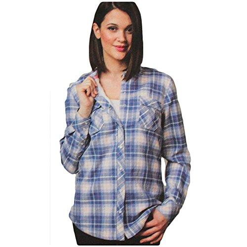 BC Clothing Women's Sherpa Lined Plaid Flannel Shirt Jacket (Denim Plaid, Medium)