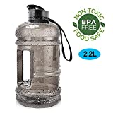 Water Jug 2.2Liter Large Sport Water Bottle Big Capacity Leakproof Giant Container BPA Free Plastic with Carrying Loop Fitness for Women Men Camping Training Bicycle Hiking Gym Athletic Outdoor Sports