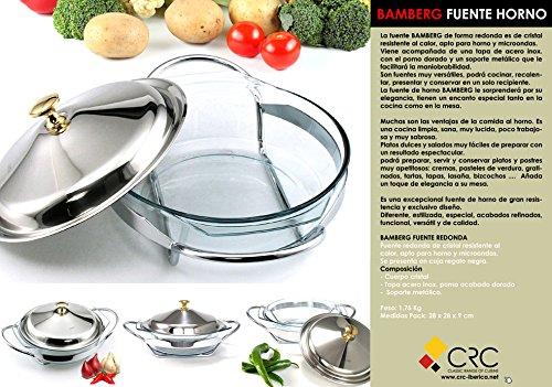 Fuente redonda para horno y microondas de cristal con tapa y soporte de acero inox: Amazon.es: Hogar
