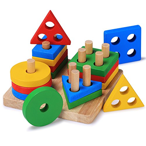 Wooden Toys For Pre School : Toddler toys wooden educational preschool shape color