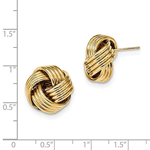 14kt Yellow Gold Polished Textured Love Knot Post Earrings 15x15mm