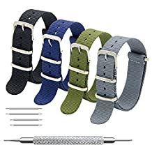 Nato Strap 4 Packs 18mm 20mm 22mm Premium Ballistic Nylon Watch Bands Zulu Style with Stainless Steel Buckle (20mm, Black+Army Green+Navy Blue+Grey)
