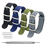 Nato Strap 4 Packs - 20mm 22mm Premium Ballistic Nylon Watch Bands Zulu Style with Stainless Steel Buckle (Black+Army Green+Navy Blue+Grey, 20mm)