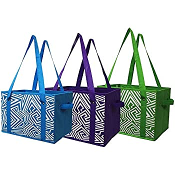 dfecda71b71 Earthwise Deluxe Collapsible Reusable Shopping Box Grocery Bag Set with  Reinforced Bottom Storage Boxes Bins Cubes (Set of 3) (Green Turq Purple)