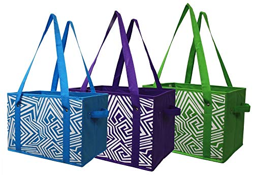 Earthwise Deluxe Collapsible Reusable Shopping Box Grocery Bag Set with Reinforced Bottom Storage Boxes Bins Cubes (Set of 3) (Green/Turq/Purple) ()