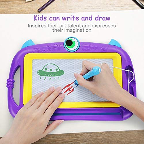 Naice Kids Magnetic Drawing Doodle Board, 2 Magnetic Pens and Stickers, Magnetic Pad for Toddlers, Scribble Drawing Board, 4-Color Erasable Pad for Kids, Writing Doodle Board for Kids (Purple)