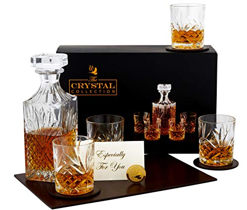 Crystal Whiskey Decanter Set | Exquisite Ultra Clarity Lead Free Decanter & 4 Glasses | Anniversary or Wedding Gift | Includes Leather Mat & Coasters | Gift Card | Gold Coin | Ready to personalize. (Tall Crystal Decanter)