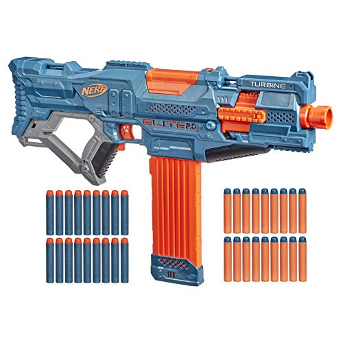 Nerf Elite 2.0 Turbine CS-18 Motorised Blaster, 36 Official Nerf Darts, 18-Dart Clip, Tactical Rails, Barrel Attachment Point