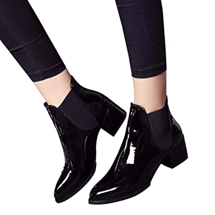 YJYDADA Boots,Fashion Women Elasticated Patent Leather Boots Pointed Low Heel Boots (Black,