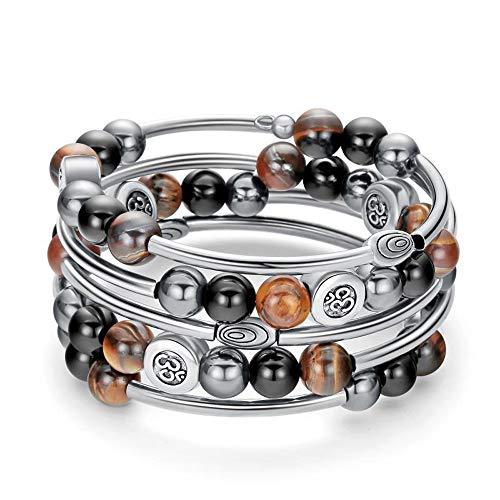 Gemstone Memory Wrap Bangle Bracelet - Fashion Bohemian Jewelry Tiger Eye Bracelet Multilayer Charm Bracelet for Women and Men ()