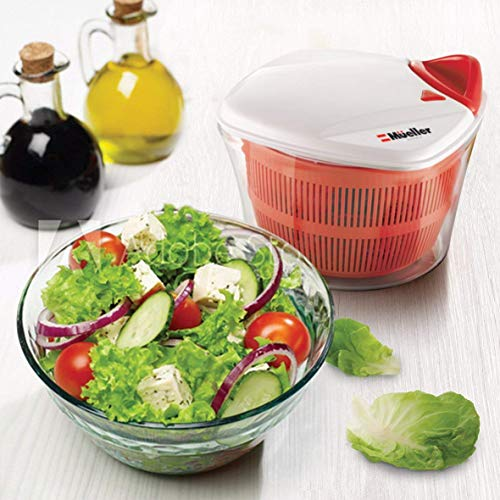 MUELLER Large 5L Salad Spinner Vegetable Washer with Bowl, Anti-Wobble Tech, Lockable Colander Basket and Smart Lock Lid - Lettuce Washer and Dryer - Easy Water Drain System and Compact Storage by Mueller Austria (Image #7)