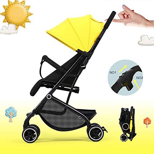 Lzx Light Stroller Cochecito plegable compacto, cochecito de bebé compacto con cinturón de seguridad y cubierta contra la...