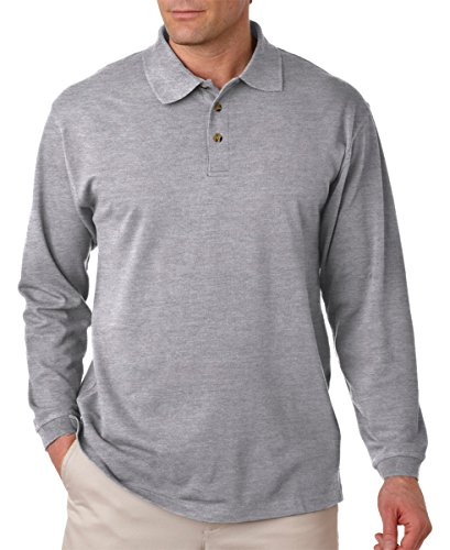 8532 UltraClub Adult Long-Sleeve Classic Piqué Polo (Heather Grey (90/10)) (S)