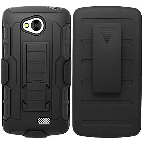 LG Transpyre Case, LG Transpyre Holster, High Impact Advanced Double Layered Hard Cover with Built in Kickstand and Belt Clip for LG Transpyre VS810PP, LG Tribute LS660, LG Optimus F60 (Verizon, Virgin Mobile, MetroPCS) from MINITURTLE | Include Screen Protector - Black