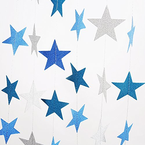 2 Pack Sparkling Star Paper Garland Bunting Banner Hanging Décor for Christmas Wedding Birthday Party Baby Shower(Blue+Silver,12ft ,35pcs) (Party Decor Hanging)