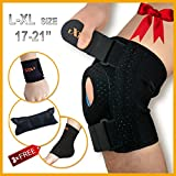 Knee Brace Support by Motion Infiniti for ACL, Meniscus Tear and Arthritis. Love It Or Your. Best Open Patella Knee Stabilizer Support - Comes with Large Size for Men and Women