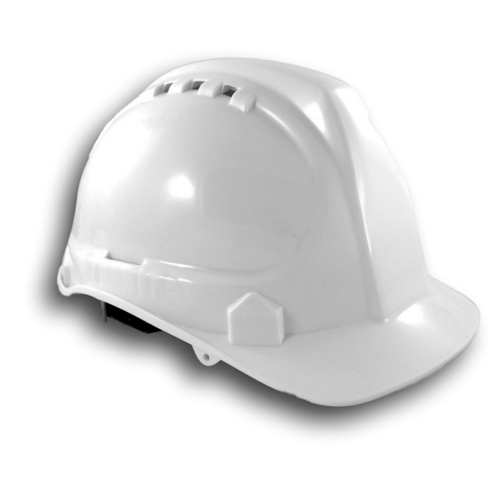 Safety Hard Hat by AMSTON - Adjustable Construction Helmet With 'Keep Cool' Vents - Meets OSHA/ANSI z89.1 Standards - Personal Protective Equipment, Home Improvement, DIY (White)