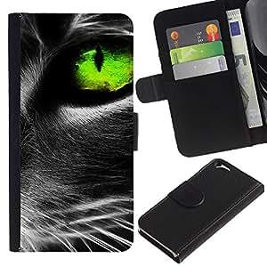 KingStore / Leather Etui en cuir / Apple Iphone 6 / Gato vibrante de ojos gris verde lindo felino